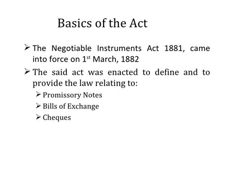 section 1 negotiable instruments law section 138 of the negotiable instruments act