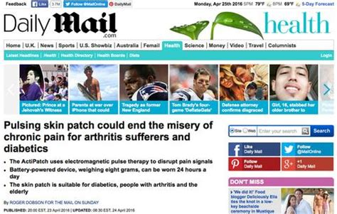 health section actipatch featured in daily mail actipatch 174 the only