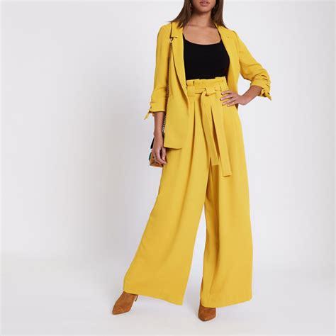 19213 Yellow Wide Leg Trousers yellow paper bag waist wide leg wide leg