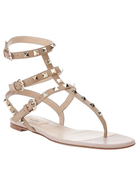 Sandal Studed valentino studded sandal in beige brown lyst