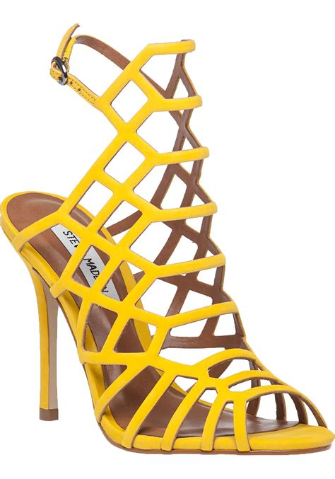 lyst steve madden slithur yellow suede sandal in yellow