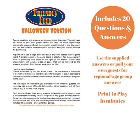Halloween Friendly Feud 20 Questions And Answers Printable Game Halloween Party Game Printable Family Feud