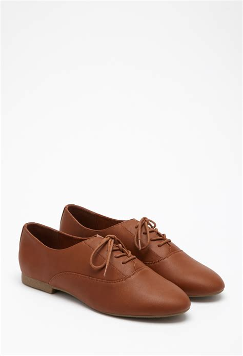 oxford shoes forever 21 forever 21 faux leather oxfords in lyst