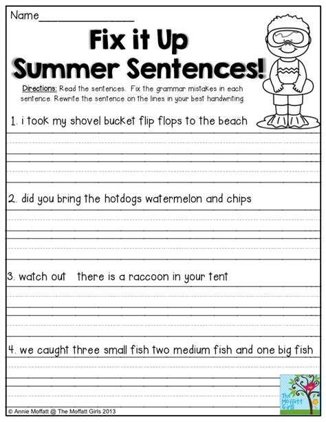 Kindergarten Sentence Writing Worksheets by Fix It Up Summer Sentences Find The Mistakes In The
