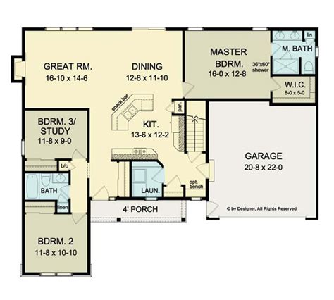ranch plans with open floor plan ranch house open floor plans open floor plan ranch hwbdo75947 ranch house plan from