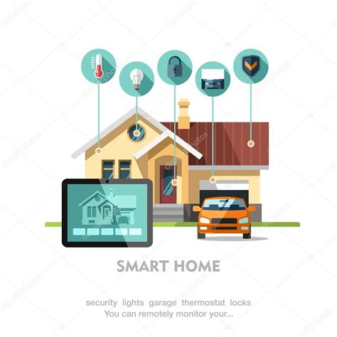 smart home technology system smart home flat design style vector illustration concept