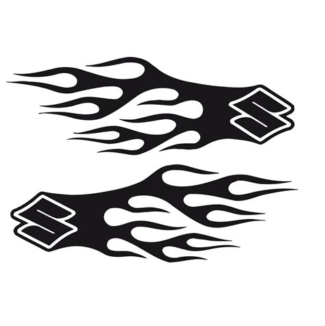 suzuki emblem bike chopper gas tank flames tribal vinyl decal sticker