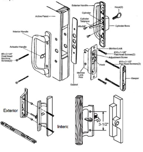 door lock replacement parts pgt industries patio doors entry door parts and hardware