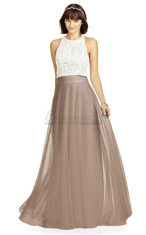 Long Halter Lace and Tulle Light Brown Bridesmaid Dress BD