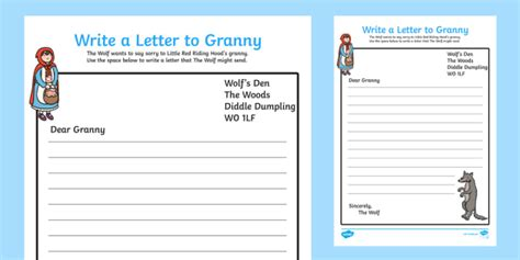 Letter To Granny From The Wolf Little Red Riding Hood Writing Letter To Template Eyfs