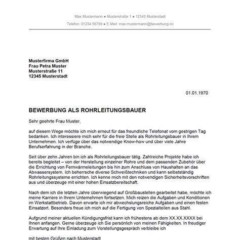Bewerbungsschreiben Telefonat Bewerbung Als Rohrleitungsbauer Rohrleitungsbauerin Bewerbung Co