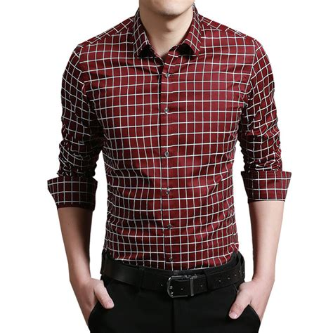 mens dress shirts sale 2016 sale dress shirt brand brang clothing slim fit sleeve plaid shirt mens