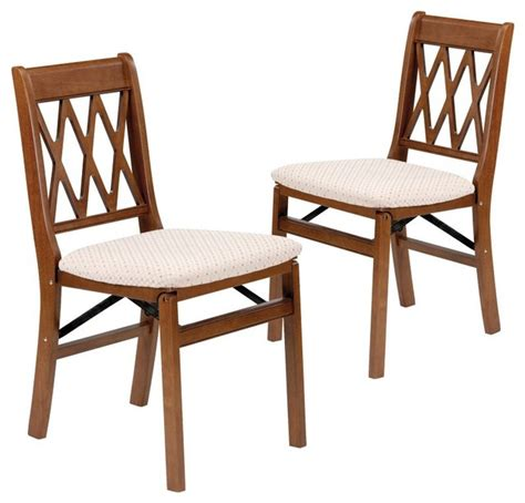 Meco Folding Chairs by Meco Lattice Back Upholstered Folding Chair Set Of 2