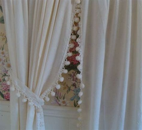 pom pom curtain 2 panels of vintage ivory pom pom curtain panels and