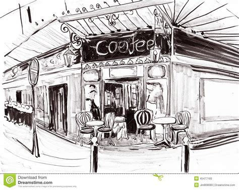 Drawing Of Coffee Shop draw coffee shop stock illustration