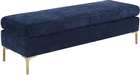 navy bench delilah navy textured velvet bench from tov furniture o93