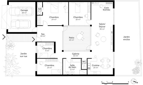 plan maison plain pied en l 4 chambres plan maison plain pied 4 chambres ooreka