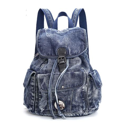 Denim Backpack aliexpress buy 2017 new big blue color vintage washed denim backpack fashion canvas