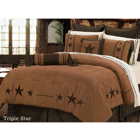western red triple star comforter set chocolate western bedding comforter set