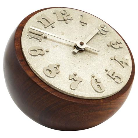 Carl Aub 246 Ck Modernist Ball Clock Walnut Cast Iron Modern Desk Clocks