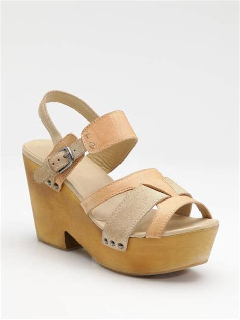 bone wedge sandals rag bone royston leather suede wedge sandals in beige