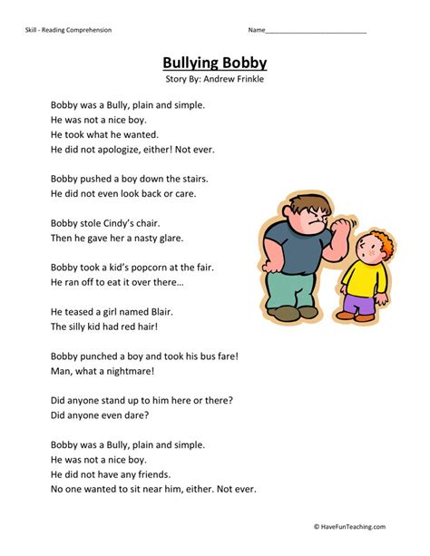Bullying Worksheets by Reading Comprehension Worksheet Bullying Bobby