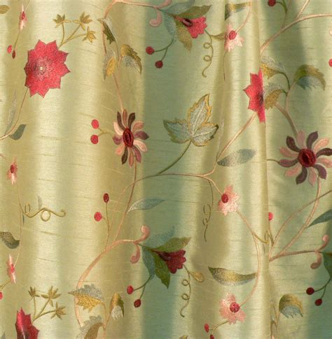silk upholstery fabric drapery upholstery fabric embroidered floral faux silk