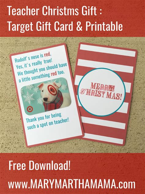 teacher christmas gift target gift card printable mary