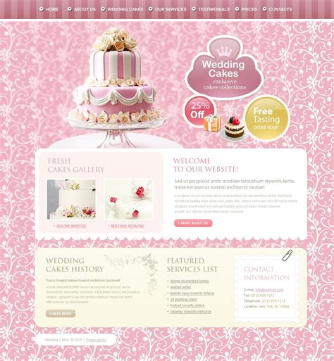 Wedding Cake Template by Wedding Cake Website Template 27847