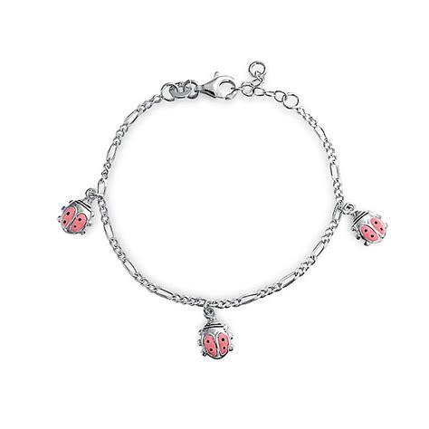 Girls Pink Enamel Ladybugs Charm Bracelet Silver 6in
