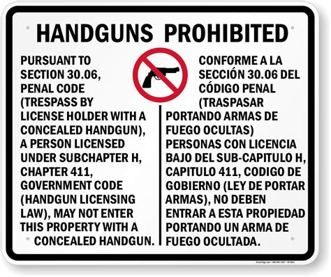 section 30 06 penal code 30 06 signs for texas concealed carry regulations sku k2