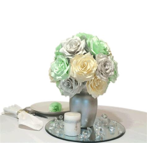 mint green silver and ivory reception table centerpieces