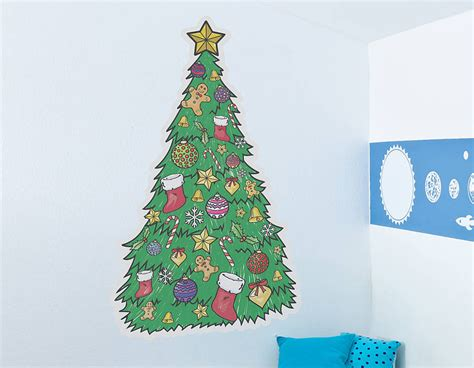colour in christmas tree wall sticker contemporary wall