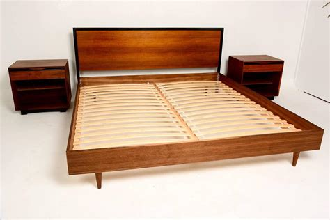 midcentury modern bed mid century modern walnut king size platform bed at 1stdibs