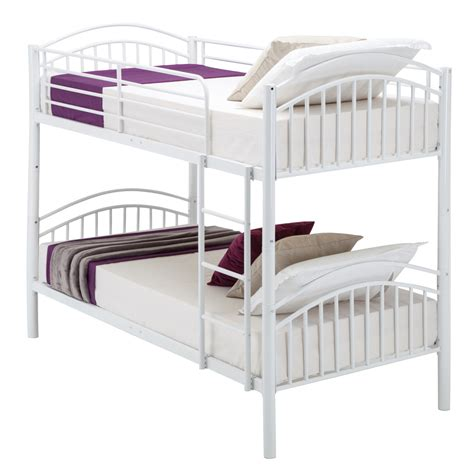 modern 3ft single white metal bunk bed frame 2 person for