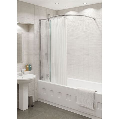 shower curtain for corner bath kudos inspire bath shower panel with shower curtain rail corner 5obspbcr