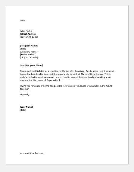 job refusal letter templates ms word word excel