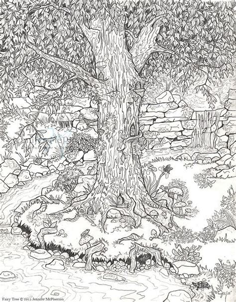 Fairy Tree By Jennifer Mcpherson Adult Colouring Therapy Detailed Tree Coloring Pages
