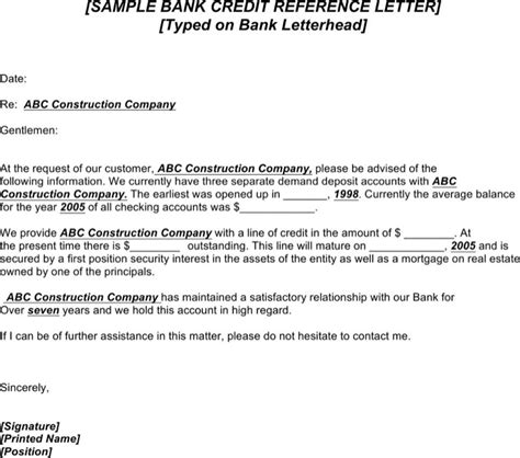 Bank Loan Letter Of Credit Sle Credit Reference Letter Templates Free Premium Templates Forms Sles