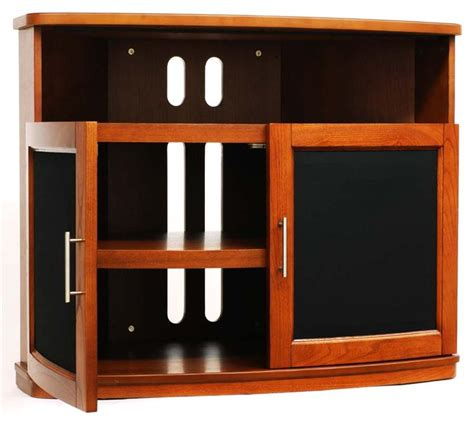 Black Tv Cabinet With Glass Doors Plateau Newport Series Corner Wood Tv Cabinet With Glass Doors For 26 42 Inch Screens Black Or