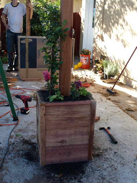 posts built ins and planter boxes on