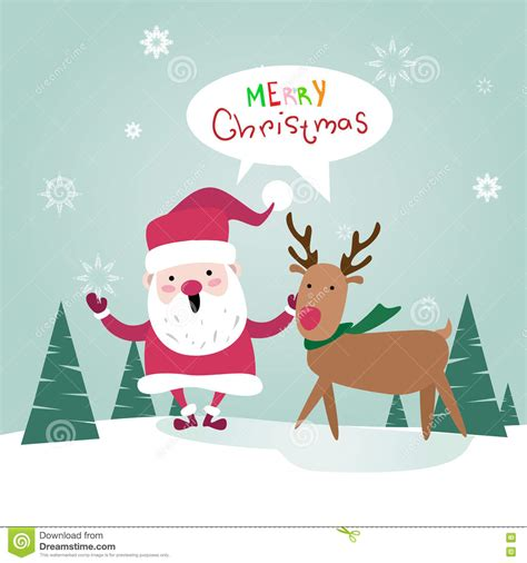 new year greeting posters merry santa clause with reindeer happy new year