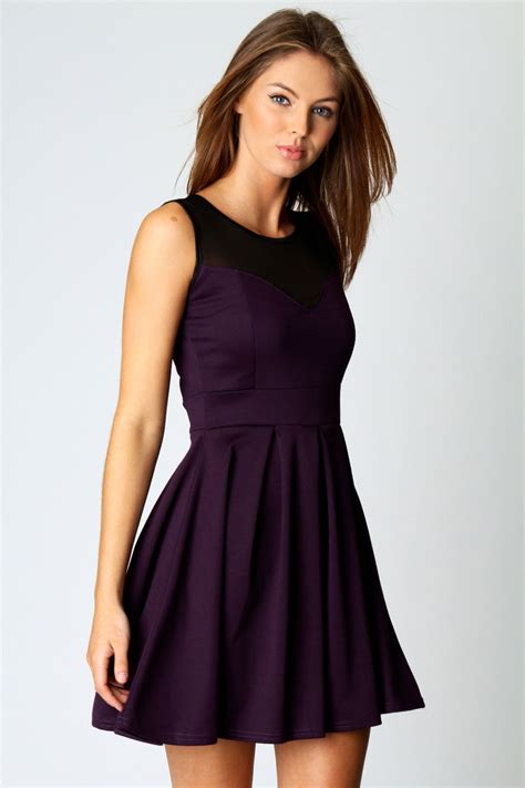 Dress Fashion Skater boohoo womens cheryl polyester skater dress with mesh top ebay