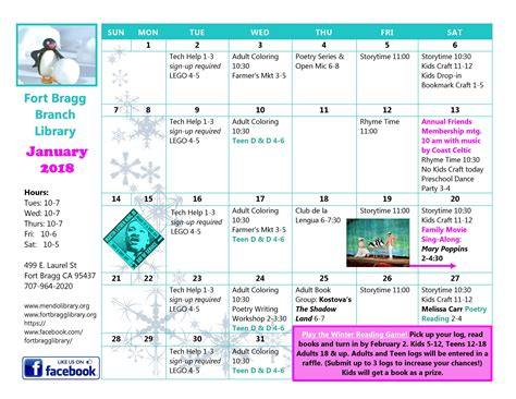 Calendar Events 2018 January Calendar Of Events 2018 Fort Bragg Library