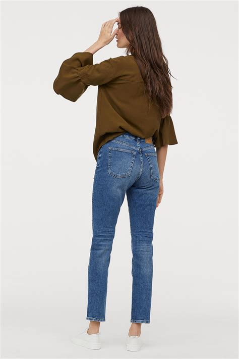 hm mom high ankle jeans  blue lyst