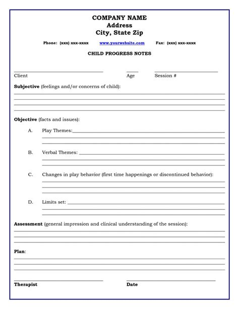 clinical notes template therapy progress note template professional resources