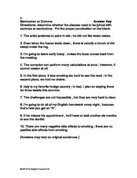 comma or semicolon semicolon or comma worksheet and answer key by the english