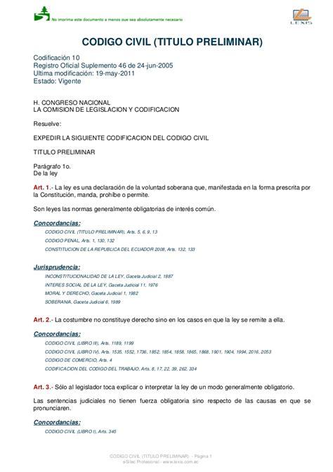 Cdigo Civil Ecuatoriano Actualizado | codigo civil ecuatoriano actualizado hasta agosto del 2011