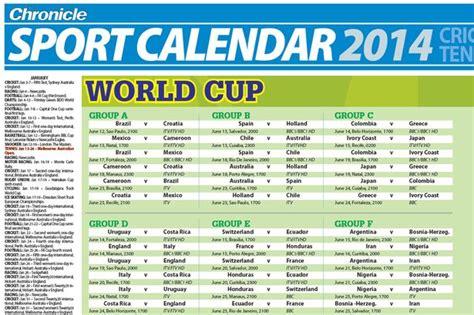 Sports Calendar The Chronicle Sport Calendar 2014 Your Free