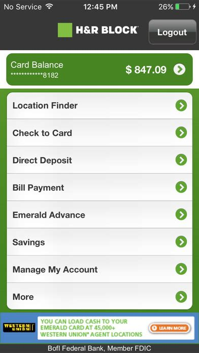 when does monday direct deposit show up in account if i app shopper emerald card h r block finance